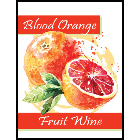 Blood Orange Fruit Wine Self Adhesive Wine Labels, pkg of 30