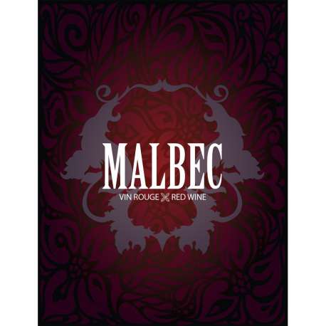 Malbec Self Adhesive Wine Labels, pkg of 30