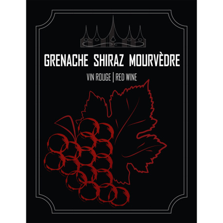 Grenache Shiraz Mourvedre Self Adhesive Wine Labels, pkg of 30