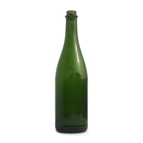 750 ml Green Champagne Bottles Flat Bottom - Case of 12