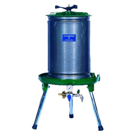 40L Marchisio Bladder Press for Grapes and Other Crushed Fruit with 10 Gallon Capacity - Stainless Steel Cage