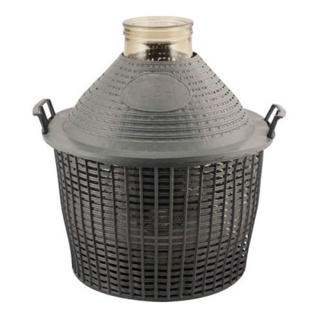 Wide Mouth DemiJohn - 34 Liter (9 Gallon) - with Plastic Basket