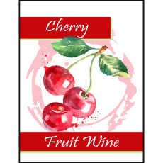 Cherry Fruit Wine Self Adhesive Wine Labels, pkg of 30