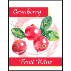Cranberry Fruit Wine Self Adhesive Wine Labels, pkg of 30