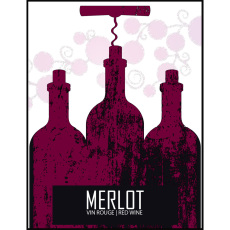 Merlot Self Adhesive Wine Labels, pkg of 30