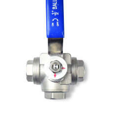 3-Way Stainless Steel Ball Valve - 1/2 in. NPT Top