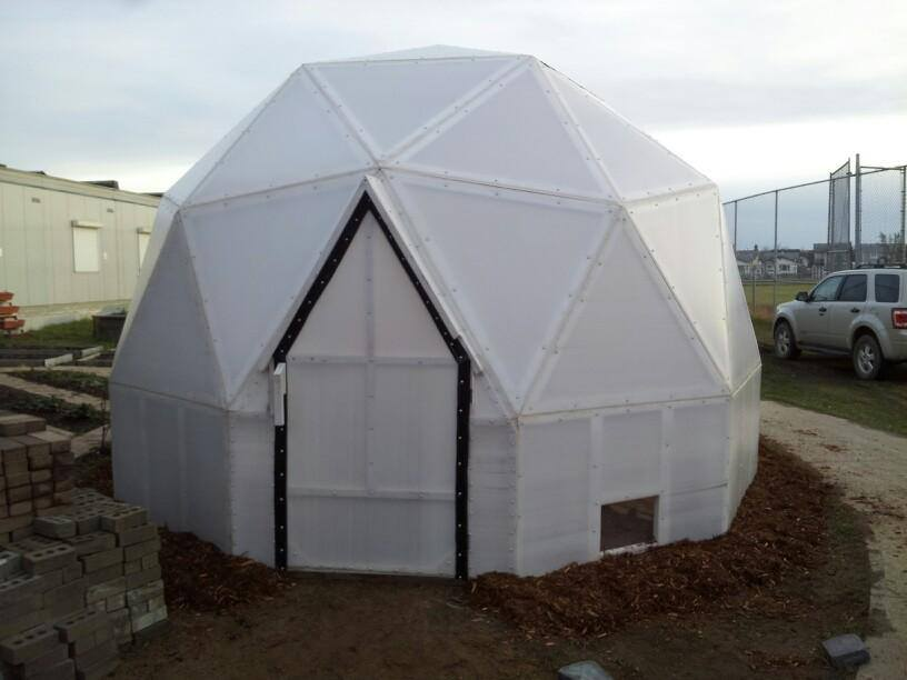 This dome greenhouse sits at a high school in Fort McMurray Alberta Canada