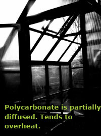 Twin-wall polycarbonate creates a band of partially diffuse light. The light diffusion is better than glass, but the greenhouse will still tend to overheat.