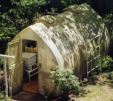 Greenhouse with fiberglass covering.