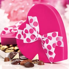 Pink Satin Heart Assortment - 36 Pc