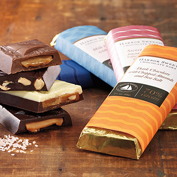 Harbor Sweets Chocolate Bars - Dark Chocolate with Almonds & Sea Salt - Set of 2