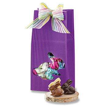 Purple Bunny Pouch with Chocolate Bunnies