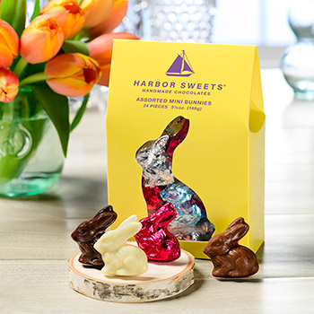 Yellow Bunny Pouch with Chocolate Bunnies - 24 pc.