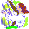 woman with harp green background