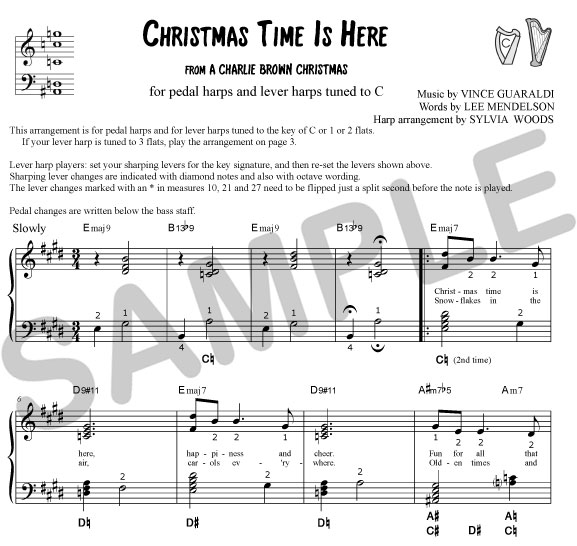 christmas time is here for lever harps tuned to 3 - Christmas Time Is Here Sheet Music