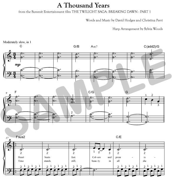 1000 years sheet music