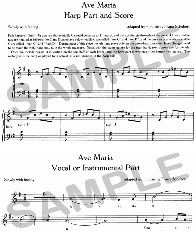 Ave Maria A Duet Version Of Schuberts For Harp And Flute Violin Or Voice