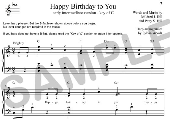 Sylvia Woods Harp Center - Lap Harp Music Books - Happy Birthday to You sheet music arranged by ...