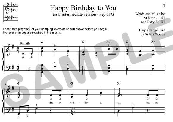 Sylvia Woods Harp Center - Lap Harp Music Books - Happy Birthday to You arranged by Sylvia Woods ...