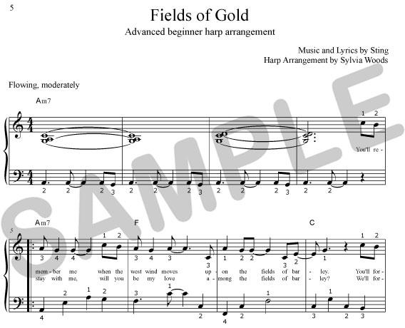 Sylvia Woods Harp Center Lap Harp Music Books Fields Of Gold