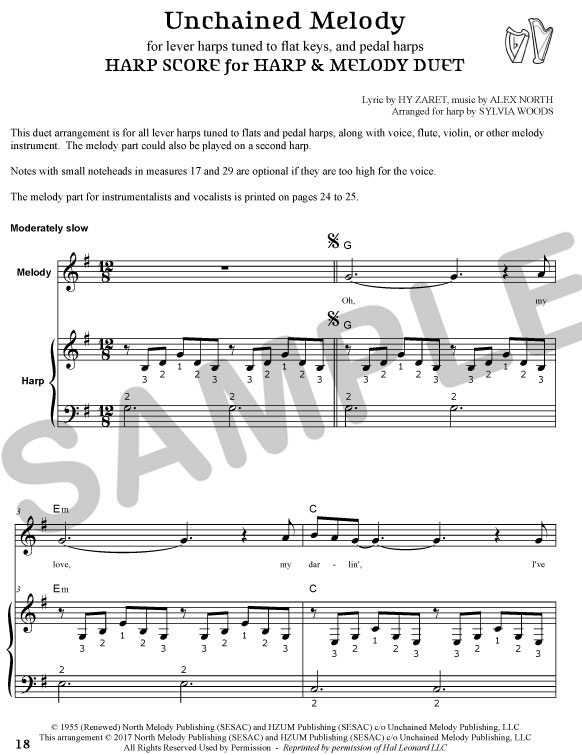 Sylvia Woods Harp Center - New Harp Books & PDFs - Unchained Melody ...