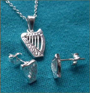 Silver Brian Boru Necklace and Stud Earring Set