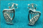 Silver Brian Boru Harp Stud Earrings