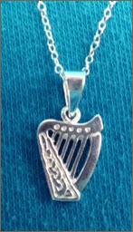 Silver Brian Boru Harp Necklace