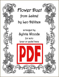 Flower Duet Sheet Music by Delibes arr. for Solo Harp by Sylvia Woods PDF Download
