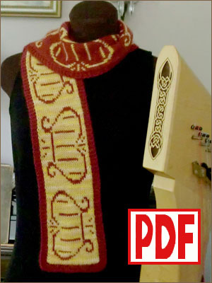 PDF PATTERN for Knitting a Scarf with a Lyre Motif