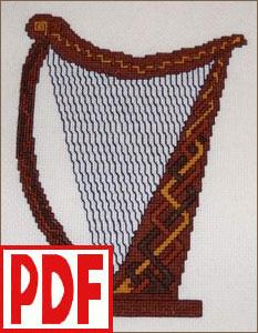 Celtic Harp Cross-Stitch <span class='red'>PDF PATTERN</span>