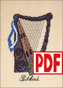 Scottish Harp Cross-Stitch <span class='red'>PDF PATTERN</span>