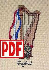 English Harp Cross-Stitch <span class='red'>PDF PATTERN</span>