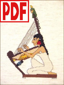 Egyptian Harper Cross-Stitch <span class='red'>PDF PATTERN</span>