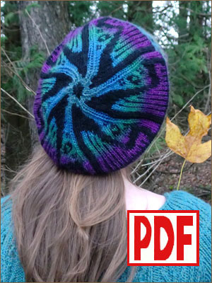 <span class='red'>PDF PATTERN</span> for Knitting a Tam Hat with a Harp Motif