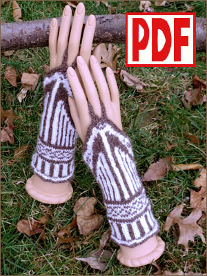 <span class='red'>PDF PATTERN</span> for Knitting Wrist Warmers with a Harmonic Curve Motif
