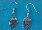 Celtic Legends Pewter Harp Earrings