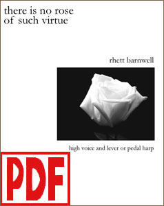 There Is No Rose of Such Virtue for harp solo or harp and high voice by Rhett Barnwell <span class='red'>PDF Download</span>