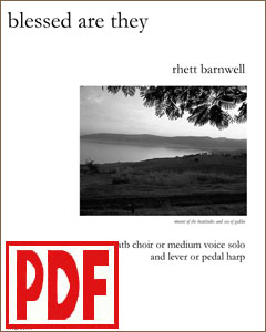 Blessed Are They  for choir or medium voice and harp by Rhett Barnwell <span class='red'>PDF Download</span>