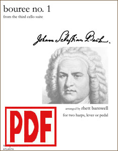 Bouree No. 1 by Bach for harp duet or ensemble by Rhett Barnwell PDF Download
