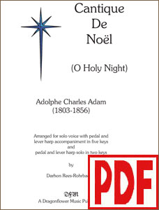 Cantique de Noel (O Holy Night) arranged  for solo harp or voice & harp by Darhon Rees-Rohrbacher PDF Download