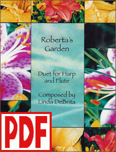 Roberta's Garden for Harp and Flute composed by Linda DeBrita PDF Download