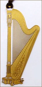 Gold-Tone Pedal Harp Bookmark