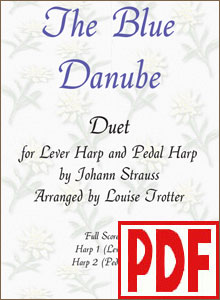 Blue Danube - Pedal and Lever Harp Duet by Louise Trotter <span class='red'>PDF Download</span>