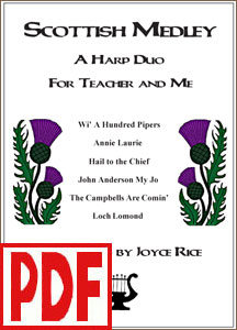 Scottish Medley for Teacher and Me harp duo by Joyce Rice <span class='red'>PDF Download</span>