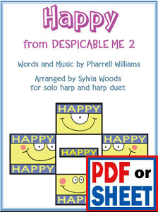 Happy by Pharrell Williams arranged for harp solo and duet by Sylvia Woods