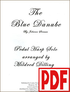 The Blue Danube arranged for pedal harp by Mildred Dilling <span class='red'>PDF Download</span>