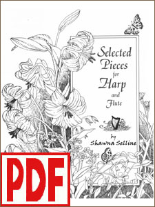 Selected Pieces for Harp and Flute by Shawna Selline for harp solo or harp and flute PDF Download