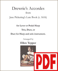 Drewrie's Accordes for harp duo, trio, or treble instruments by Ellen Tepper PDF Download