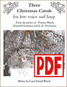 Three Christmas Carols for low voice and harp by Carol Wood <span class='red'>PDF Download</span>